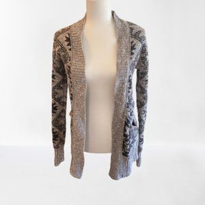 Mossimo Patterned Knit Gray & Black Cardigan S